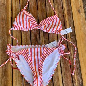 LOFT Swim - Loft Pink Orange striped swimwear